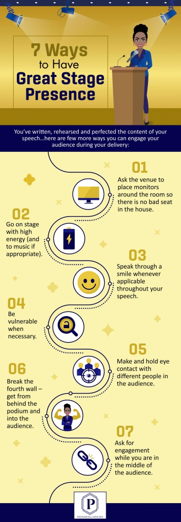 Infographic Showing 7 Ways to Have a Great Stage Presence