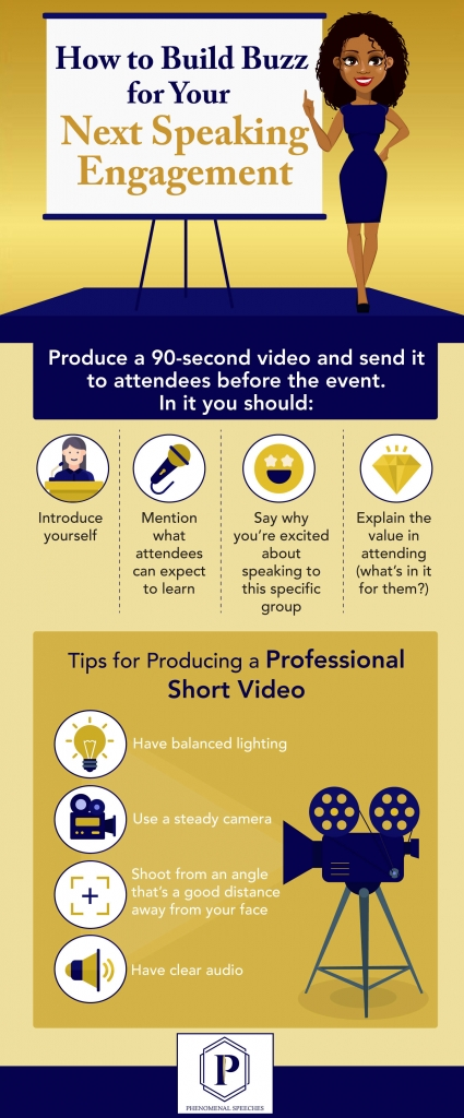 Infographic showcase how to build buzz for next speaking engagement