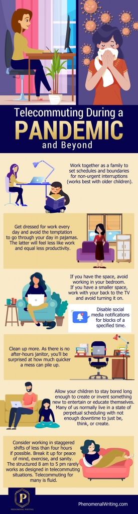 Infographic showing how to telecommute during a pandemic